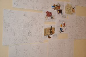 The wall of visual interpretations have expanded! Soon I will invade another side of the wall with my sketches.