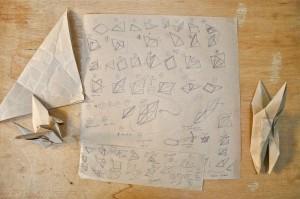 Storyboard for self folding origami crane.