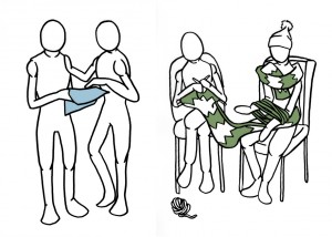Examples of some of the illustrations; the one of the left is someone giving advice to another, and on the right is of an activity.