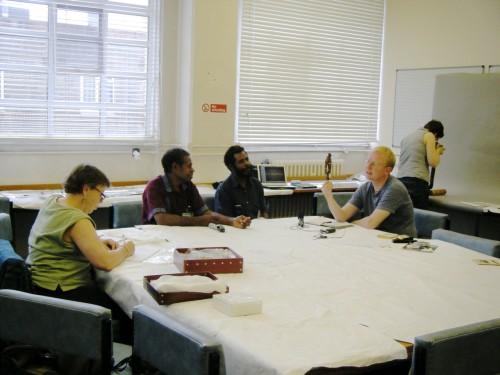 Lissant Bolton, Porer Nombo, Pinbin Sisau, James Leach & Liz Bonskek at BM Ethnographic Store